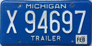 Michigan Great Lakes Trailer American License Licence USA Number Plate X 94697