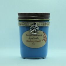 8 oz. Blueberry Vanilla Hand Poured Natural Soy Wax Cotton Wick Blue Candle