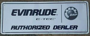 VINTAGE AUTHENTIC E-TEC  EVINRUDE BRP OMC METAL MOTOR BOAT SIGN