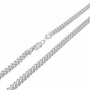 "10K White Gold 3mm Franco Square Box Franco Chain Necklace Lobster Clasp 20"""