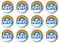 12 X NHS RAINBOW - BUTTON PIN BADGES - 1 inch / 25mm  - THANK YOU