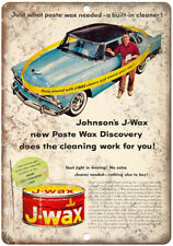 """Johnson's J-Wax Vintage Auto Ad 10"""" x 7"""" Reproduction Metal Sign A211"""