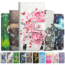 3D Patterns Leather Wallet Stand Case Cover For Huawei P30 P30 Pro Nova 4 Y6 Y7