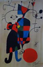 Surreal character painting, signed Joan Miro, w COA