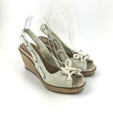 Sperry Top Sider Women's Southport in White Canvas Wedge Bow Nautical Shoes 9 M