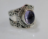 100% Color Change Lab Created Alexandrite 925 Sterling Silver Ring size F-Z1/2UK