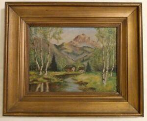 Vtg Framed Oil Painting Original Cabin Wood Mountain Stream River Cottagecore