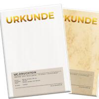 10 x Urkunden Vordruck - GOLD; Blanko; edles Papier inkl. Einrichtebögen