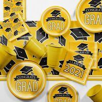 Yellow 2021 Graduation Party Supplies Kit Serves 18 Guests
