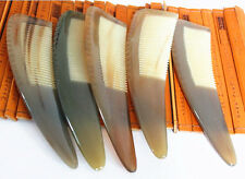 """6.3"""" QiaoYaTou Natural White Buffalo Horn Fine-toothed Unisex Health Care Comb"""