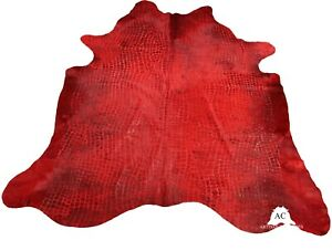 Croco Embossed Dyed Red Cowhide Rug - (XL 7.5 x 6.5 ft )