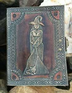 Witches Wicca embossed leather journal diary notebook sketchbook personal diary