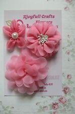 HANDMADE 3 Flower Mix PEACH PINK Organza - 60, 70 & 90mm NjoyfullCrafts