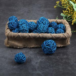 18Pcs Blue Wicker Rattan Balls Ornament Gift Wedding Party Home Decoration 2.8OZ