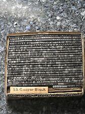 Vintage 12pt Cooper Black Foundry Type Letterpress