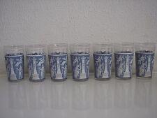 Set of 7 Vintage Jeannette Corinthian Blue 10 oz. Glass Tumble
