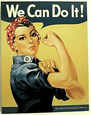 ROSIE THE RIVETER METAL SIGN We Can Do It! NEW Repro WWII Patriotic Feminism USA