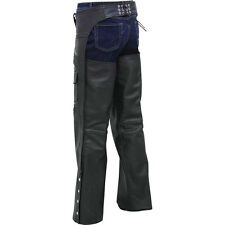 Rocky Mountain Hides™ Solid Genuine Buffalo Leather Motorcycle Chaps