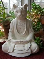 Buddha, Cat Statue, Meditating Cat, Cement Garden Decor, Concrete Statue Figure