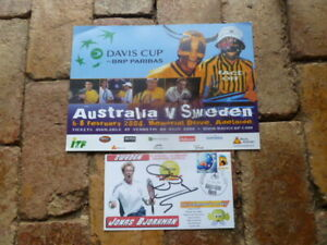 Jonas BJORKMAN HAND SIGNED  A4 DAVIS CUP POSTER WITH SIGNED COVER 2 AUTOGRAPHS
