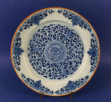 Splendid Late 17thC Dutch Delft Pottery Blue and White Charger J.VERBURG 1695
