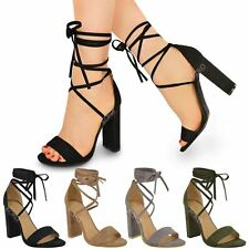 Lace Tie Up Ankle Wrap Around Sandals Womens Ladies High Heel Chunky Shoes Size