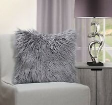 """Mongolian Shaggy Faux Fur Suede Silver With Hint of Lilac Cushion Cover 17"""""""