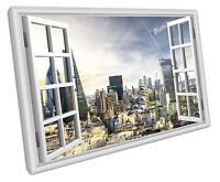 WINDOW VIEW LONDON SKYLINE CANVAS WALL ART PICTURE LARGE 75 X 50 CM