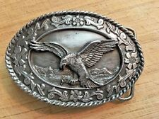 "Nice 1985 Siskiyou Belt Buckle Pewter Eagle SW-2 Oval 3.5"" Inches"