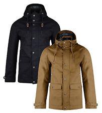 Threadbare New Men's Cotton Hooded Skywalker Jacket Dark Navy & Tan Long Coat