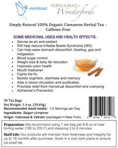 Simply Natural 100% Organic Cinnamon Herbal Tea Caffeine free 30 Bags