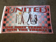Manchester United Flag The Only Team To Win The Treble Five Foot X Three Foot