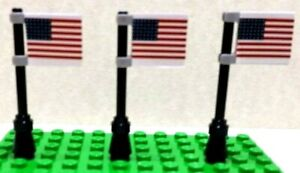 Lego City Town Village AMERICAN FLAGS (big) set of 3 CUSTOM Stickers
