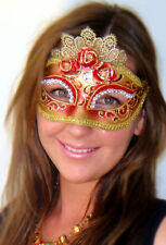 Red Masquerade Mask Italian Made Marie Antoinette OVERNIGHT Metro Aust Quality