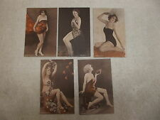 5 ORIGINAL 1930's ARCADE EROTIC PIN UP GIRL CARDS
