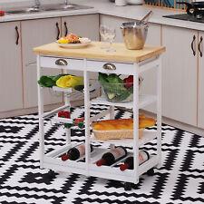 Rolling Kitchen Island Trolley Storage Cabinet Cart w/ Basket Shelves White