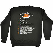 How to Cook A Turkey SWEATER Wine Chef Joke Present Xmas thanksgiving funny gift