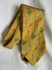 Dunhill Silk Tie Gold With Floral Print