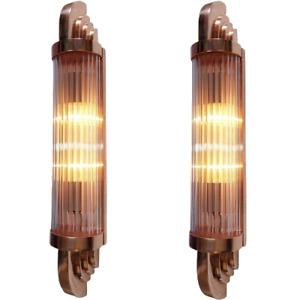 Pair Antique Old Vintage Art Deco Copper Glass Rod Ship Light Wall Sconces Lamp