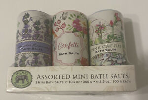 Michel Design Works Mini Bath Salts 3 Lavender Rosemary Pink Cactus Confetti Set