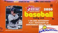 2020 Topps Heritage Minor League Baseball Factory Sealed HOBBY Box-2 AUTO/MEM