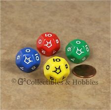 Set of 4 Red Yellow Blue Green D12 Jester Dice (0 to 10) 12 Sided RPG Die Koplow