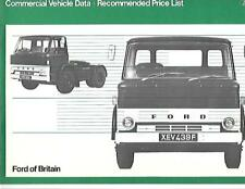FORD 'D' SERIES COMMERCIAL TRUCK PRICE LIST SALES BROCHURE AUGUST 1968 FOR 1969