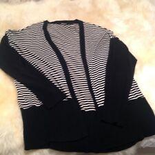 DKNY Black/ Cream Striped Cardigan Size M/L
