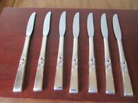 Oneida MORNING STAR Set of 7 Grille Knives Community Silverplate Flatware Lot A
