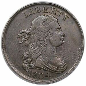 1804 C-6 R-2 PCGS XF 45 Spiked Chin Draped Bust Half Cent Coin 1/2c