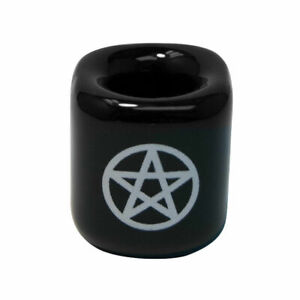 """1, 2, 4 or 5 Black Pentagram Ceramic Candle Holders for 1/2"""" Mini Chime Candles"""