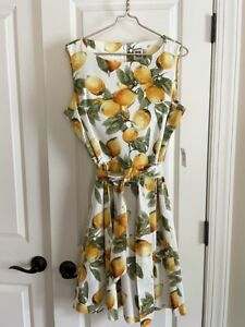 Anne Klein Women's White Multi Color Lemon Print Fit Flare Dress Size 12, NWT