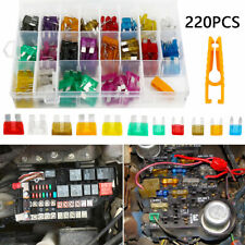 220Pcs Standard Car Fuses Mini Blade Holder Auto Van Fuse Box Assorted Set 2-35A