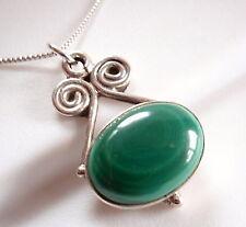 Green Malachite Swirls 925 Sterling Silver Necklace Corona Sun Jewelry u248-5